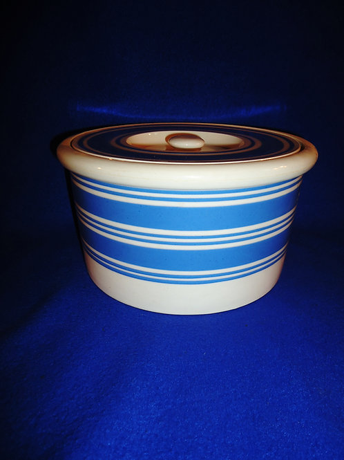 Blue and White Striped Butter Crock with Lid #5881