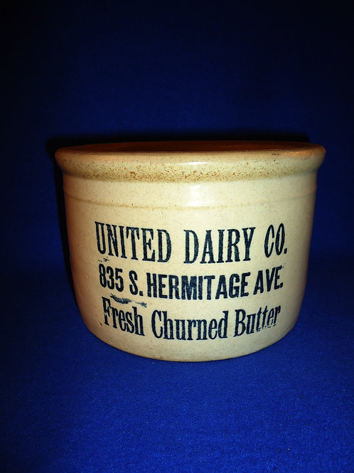 Blue and White Stoneware Butter Crock from Chicago