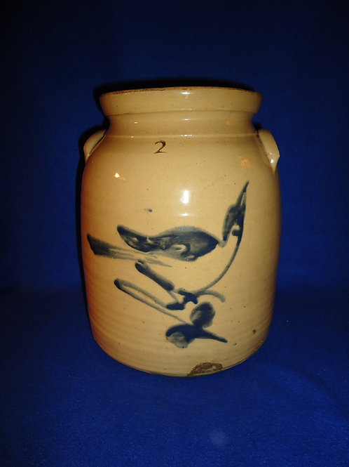 Fulper, Flemington, N.J. Stoneware 2g Preserve Jar with Bird on a Branch
