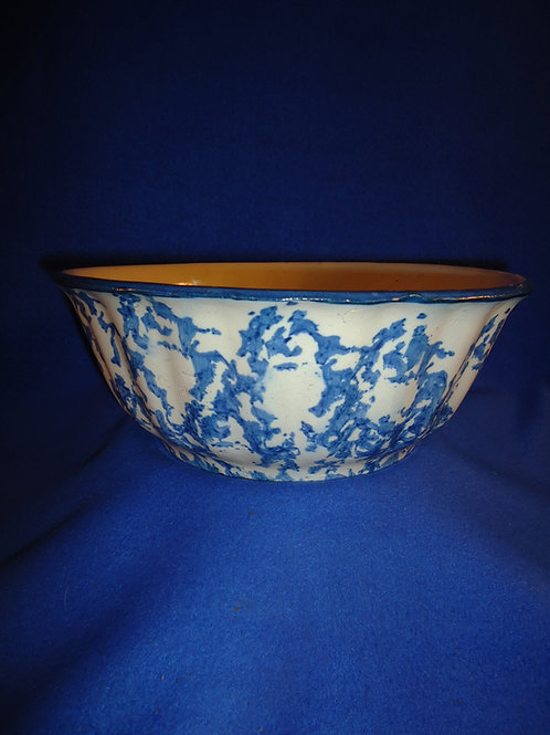 "Blue and White Spongeware Stoneware Ridged Bowl - 10 1/4"" #5880"