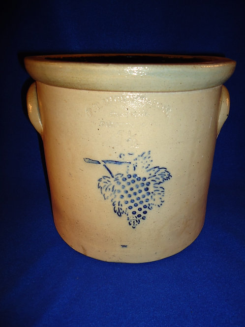 F. T. Wright, Taunton, Massachusetts Stoneware Crock with Cluster of Grapes
