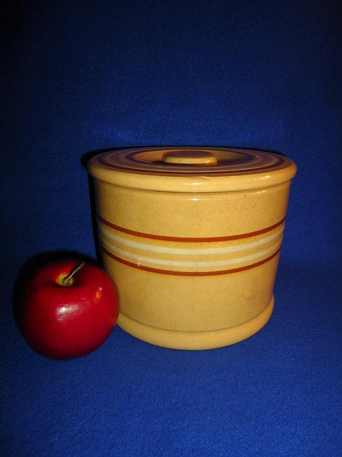 Large Yellow Ware Banded Butter Crock, att. Pfaltzgraff #5813