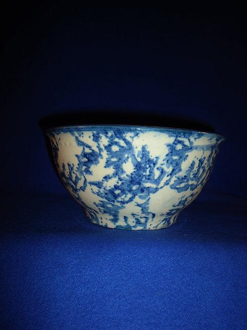 "Blue and White Stoneware Spongeware Bowl, 4"" by 8"""