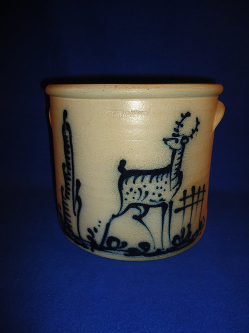 2 Gallon Stoneware Crock with Standing Deer, Wisconsin Pottery #5110