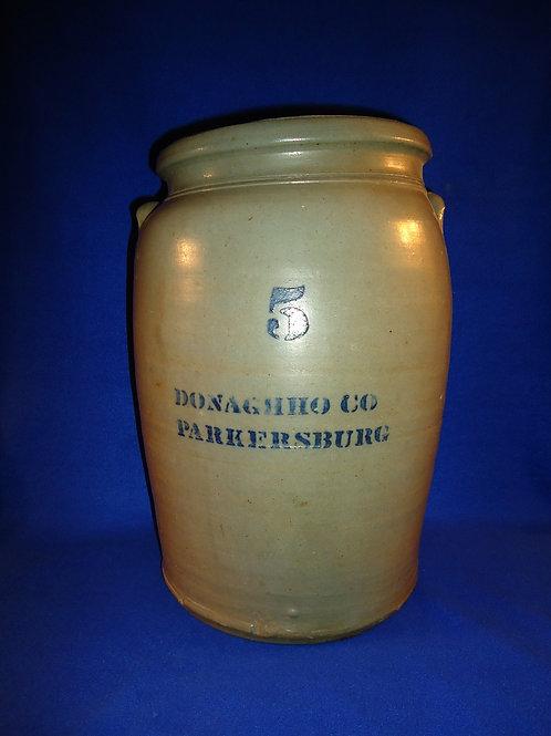 Donaghho, Parkersburg, West Virginia 5 Gallon Stoneware Jar