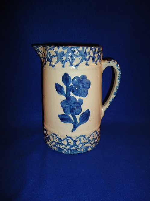 Blue and White Stoneware Pitcher in the Wild Rose Pattern #4553