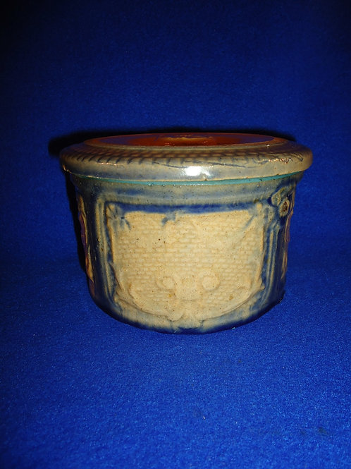 Yellow Ware Butter Crock with Lid in the Window Drape Pattern