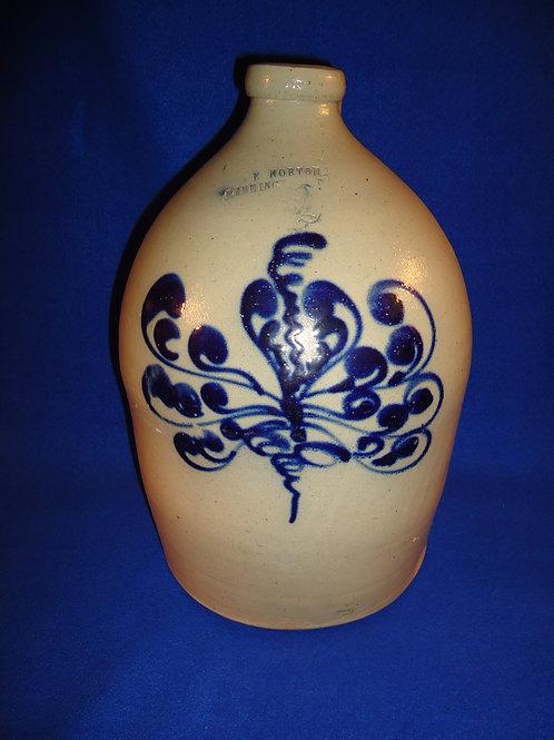 J. & E. Norton, Bennington, Vermont Stoneware 2 Gallon Jug with Gorgeous Floral