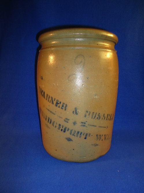 Warner & Russell, Bridgeport, West Virginia 2 Gallon Stoneware Jar