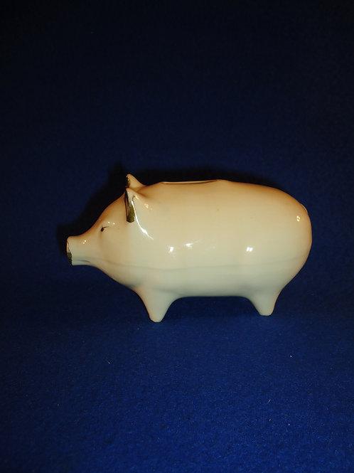 Circa 1900 Stoneware Piggy Bank with Original Gold Trim