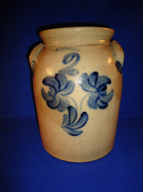 Lyons, New York Stoneware Preserve Jar with Floral, att. Thompson Harrington