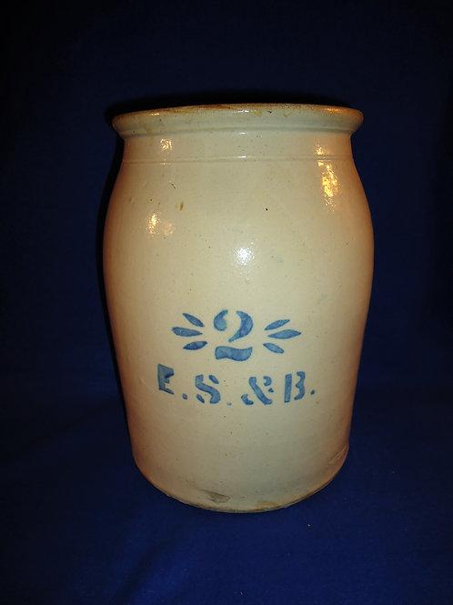 E. S. & B., New Brighton, Pennsylvania 2 Gallon Stoneware Jar