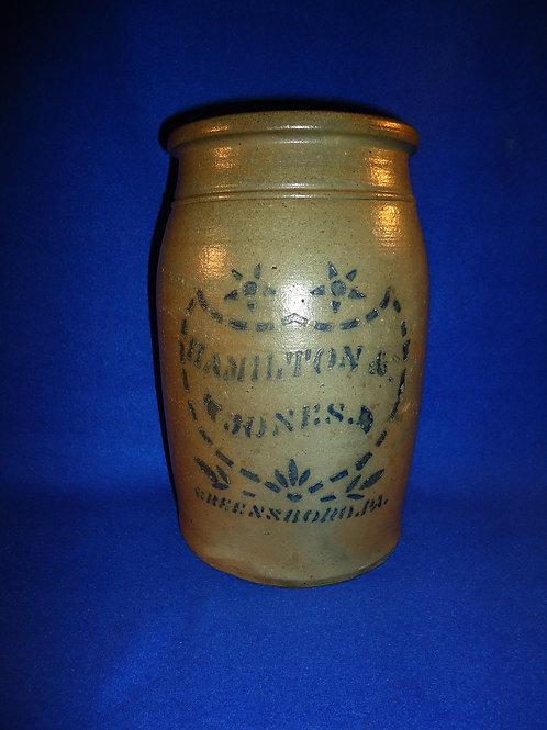 "Hamilton and Jones, Greensboro, Pennsylvania 10"" Stoneware Jar with Shield"