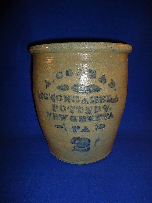 A. Conrad, New Geneva, Pennsylvania Stoneware 2 Gallon Cream Pot