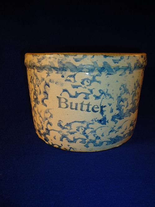 Large Blue and White Spongeware Stoneware Butter Crock