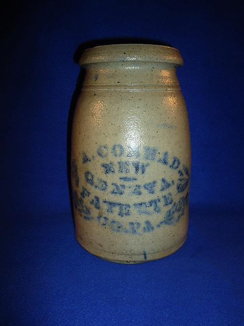 A. Conrad, New Geneva, Pennsylvania Stoneware 1 Gallon Wax Sealer