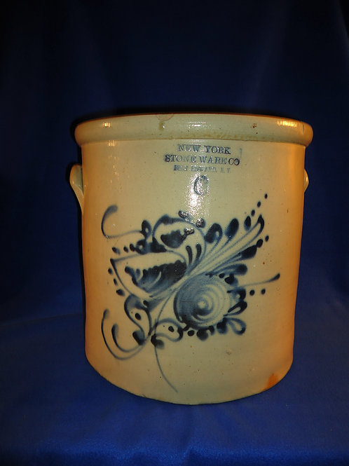 Monumental 6 Gallon Stoneware Crock with Huge Floral, New York Stoneware Company