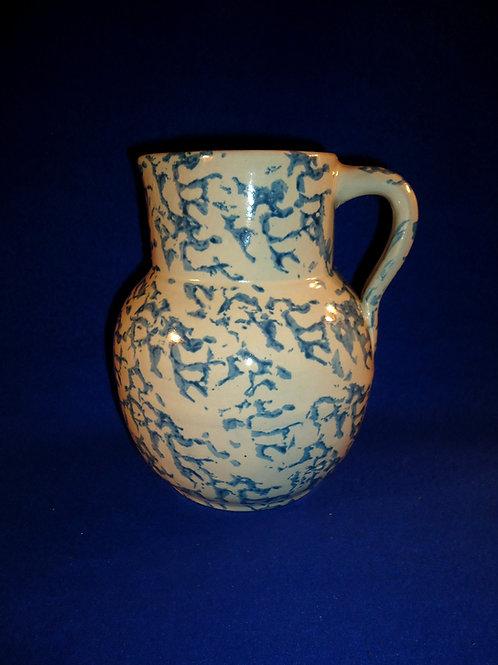 Blue and White Stoneware Spongeware Pitcher by Uhl of Huntingburg, Indiana