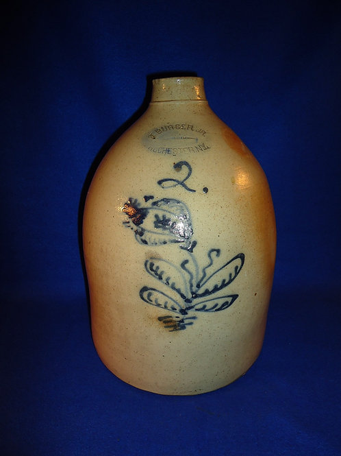 J. Burger Jr., Rochester, New York Stoneware 2 Gallon Jug with Flower