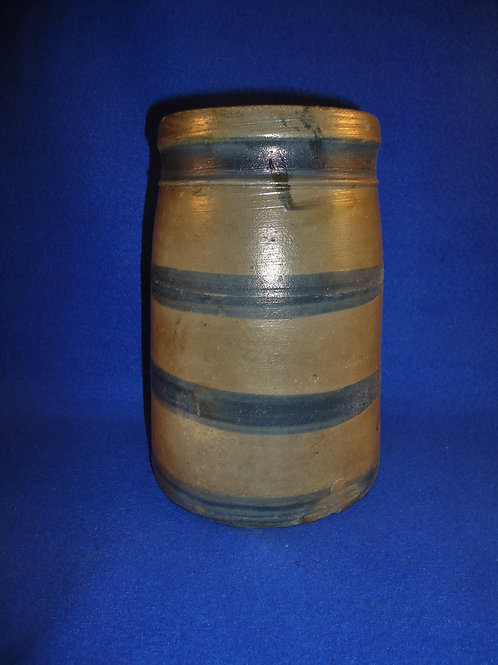"Circa 1870 8"" Wax Sealer Canning Jar with 4 Stripes #4629"