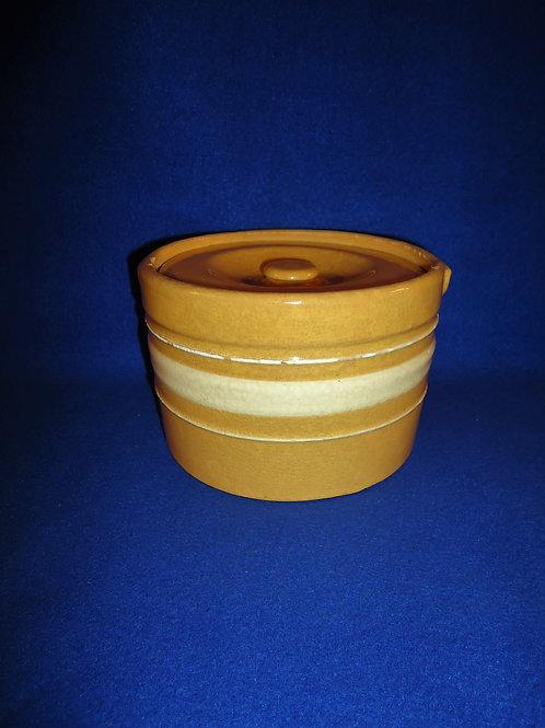 Yellow Ware Lidded Butter Crock, Dandy Line #4748