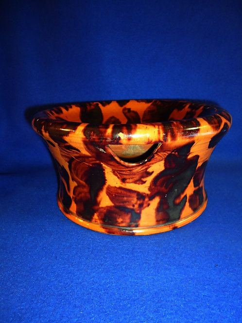 19th Century Redware Spittoon with Manganese Decoration