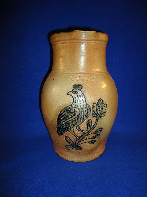 R. & B. Diebboll, Washington, Michigan Stoneware Pitcher, Incised Bird #4538