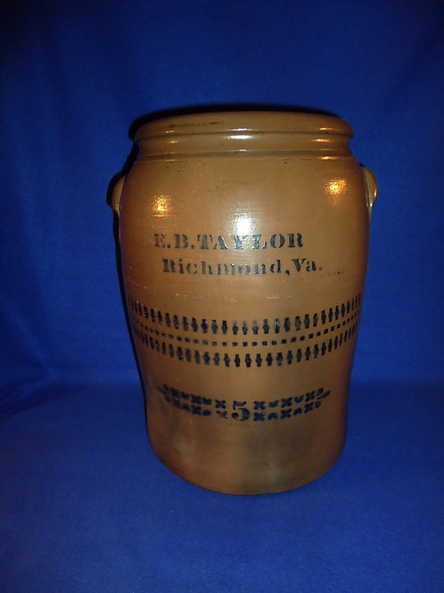 E. B. Taylor, Richmond, Virginia Stoneware 5g Jar by Donaghho of Parkersburg, WV