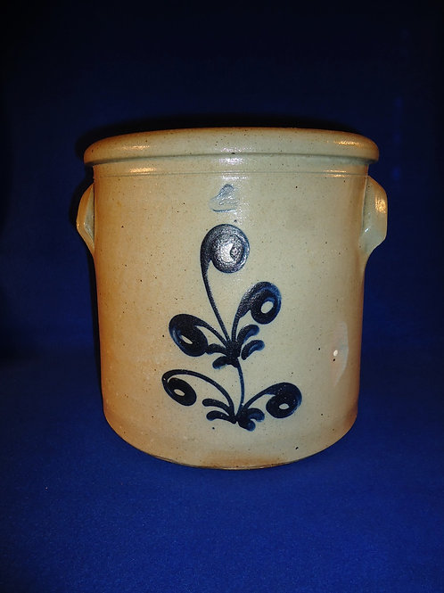 2 Gallon Stoneware Crock with Freehand Plant, att. Edmands of Charlestown, MA