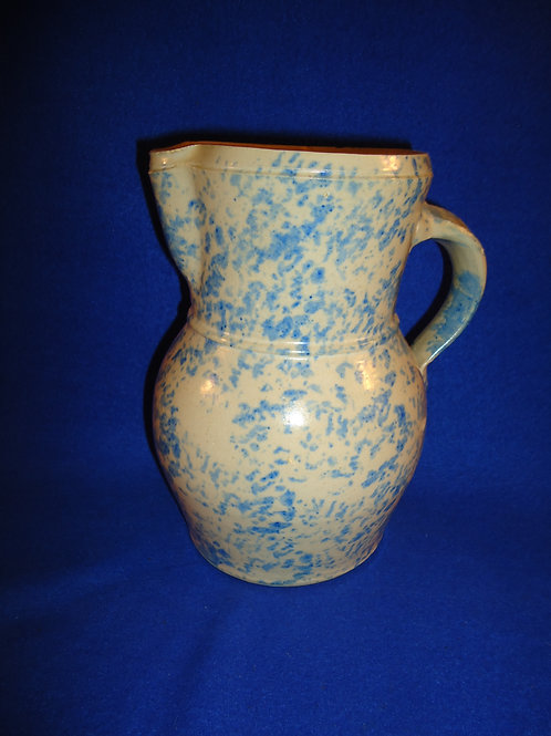 Circa 1900 Blue and White Spongeware Stoneware Pitcher #4549