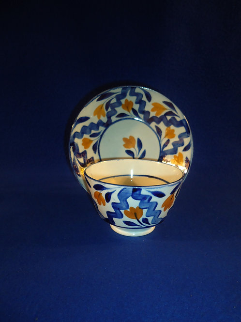 Mid-19th Century Gaudy Dutch Handleless Cup and Saucer