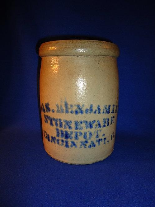 James Benjamin, Stoneware Depot, Cincinnati, Ohio Stoneware Jar