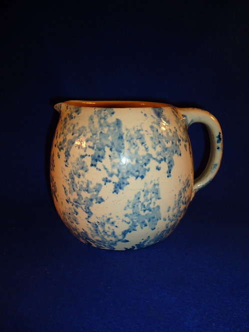 Blue and White Stoneware Spongeware 1 Gallon Pitcher