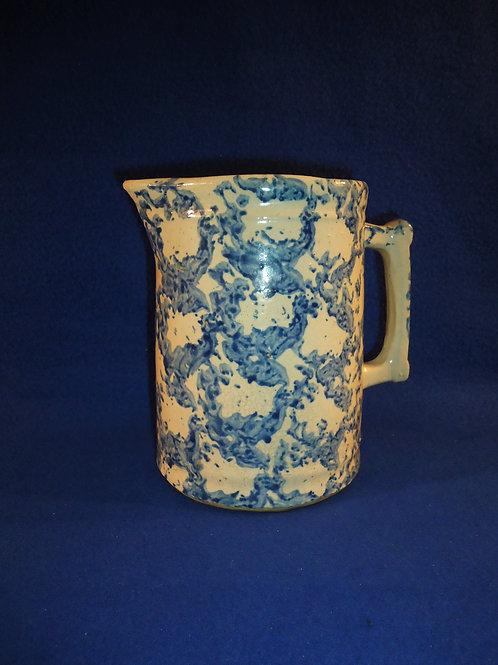 Blue and White Stoneware Spongeware Hallboy, Chicken Wire Pattern  #4481