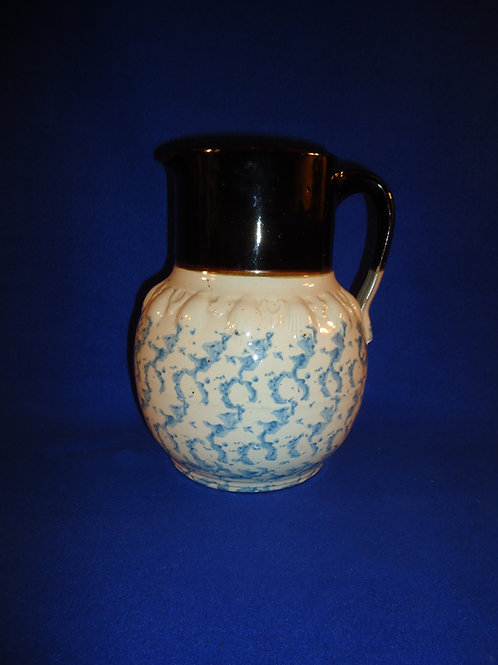 Uncommon Blue and White Spongeware Pitcher with Advertising, #4624