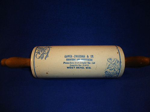 Blue and White Stoneware Rolling Pin from West Bend, Wisconsin