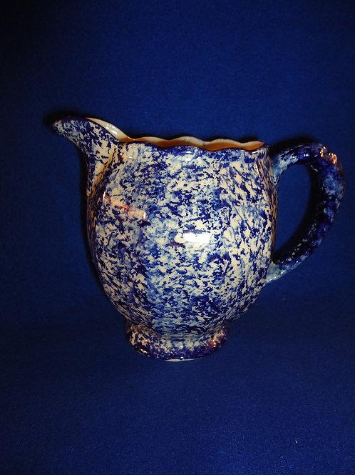 Blue and White Spongeware Pitcher, Clinchfield Artware, Tennessee, Cash Family