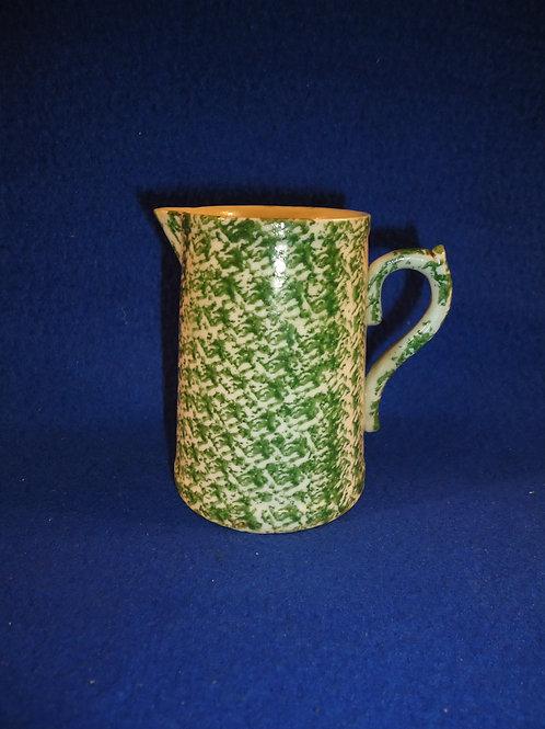 Late 19th Century Stoneware Green and White Spongeware Creamer