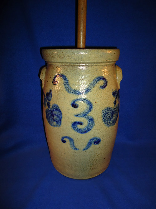 Circa 1870 Ohio Churn with Large Apples, Lid and Dasher #5237