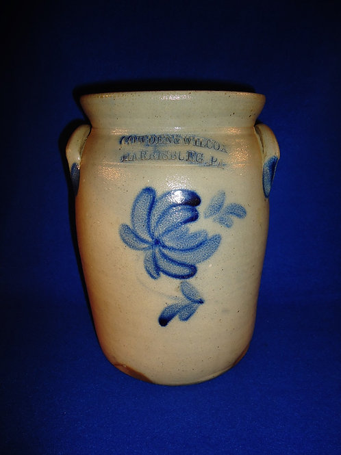 Cowden & Wilcox, Harrisburg, Pennsylvania Stoneware 1g Jar with Chrysanthemum