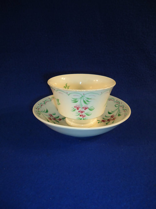 Early 19th Century Creamware Hand-Painted Cup and Saucer