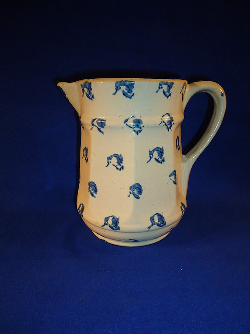 Blue and White Stoneware Spongeware 8 Sided Pitcher