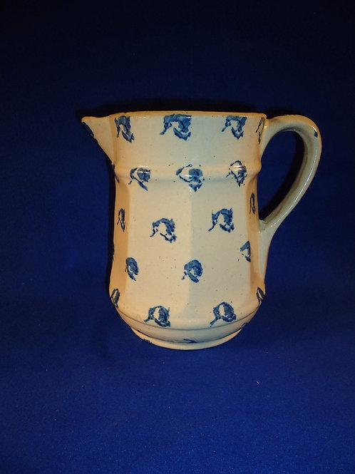 Blue and White Stoneware Spongeware 8 Sided Pitcher