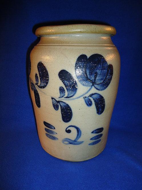 Circa 1865 Stoneware Jar with Freehand, att. Boughner of Greensboro Penn.