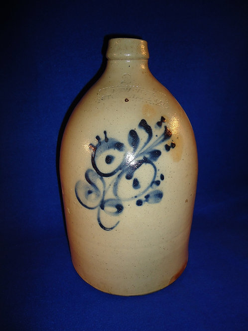 New York Stoneware Company 2 Gallon Jug with Cobalt Floral