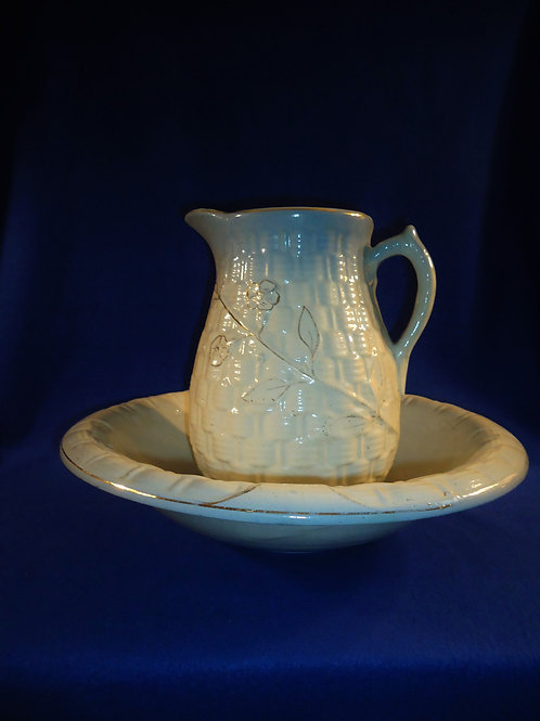 Blue and White Stoneware Pitcher and Bowl, Basketweave and Morning Glory