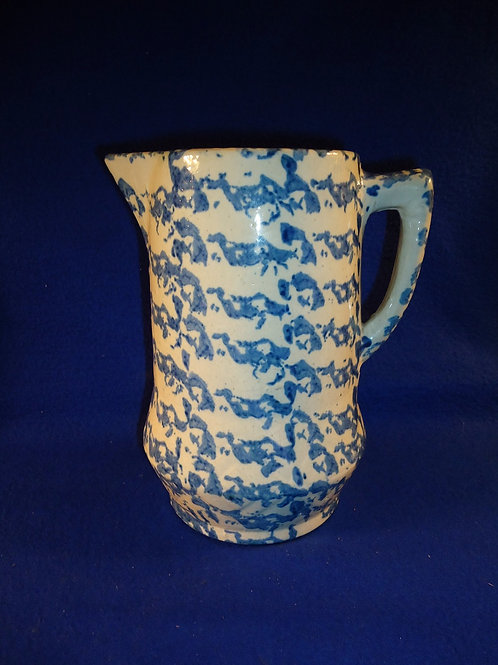 Blue and White Stoneware Spongeware Pitcher