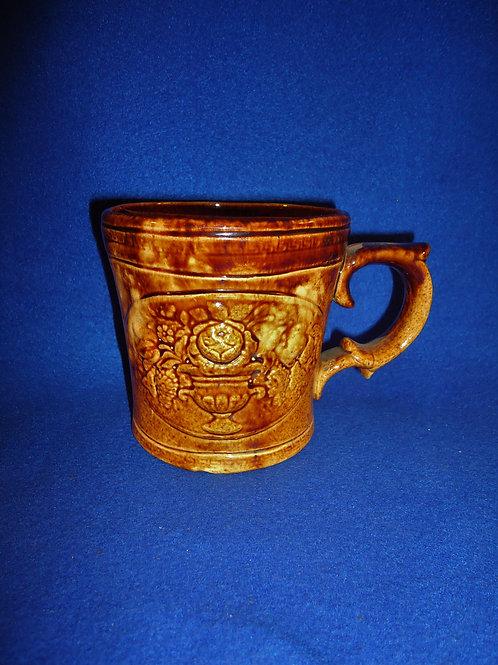 Fancy Yellow Ware Shaving Mug with Urns of Flowers, #4656