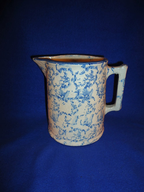 Blue and White Spongeware Stoneware Hallboy Pitcher, #4868