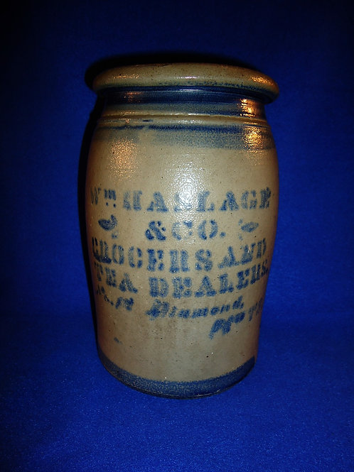 William Haslage, Grocer, Pittsburgh, Pennsylvania Stoneware 1 Gallon Jar
